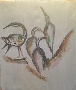 Interpretation of Chinese birds in art in watercolours