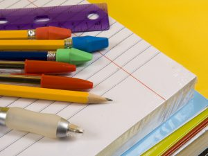 paper pad and pencils