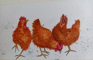 Painting of three orange hens