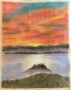 A drawing in pastels of a tuscan landscape