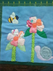 applique flower and bee patchwork square