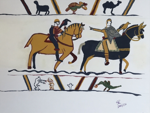 Painting of the Bayeux Tapestry