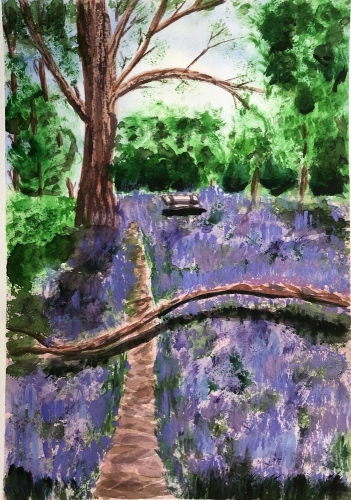 Painting of bluebell wood
