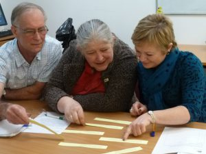3 people looking at pieces of yellow paper on a table