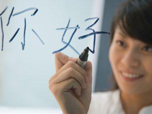 Woman writing Chinese on a window