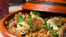 Tagine dish with chicken and couscous