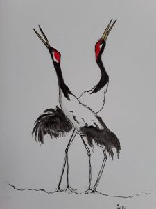 Painting of cranes