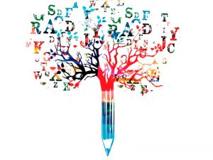 Colourful pencil with tree growing from it