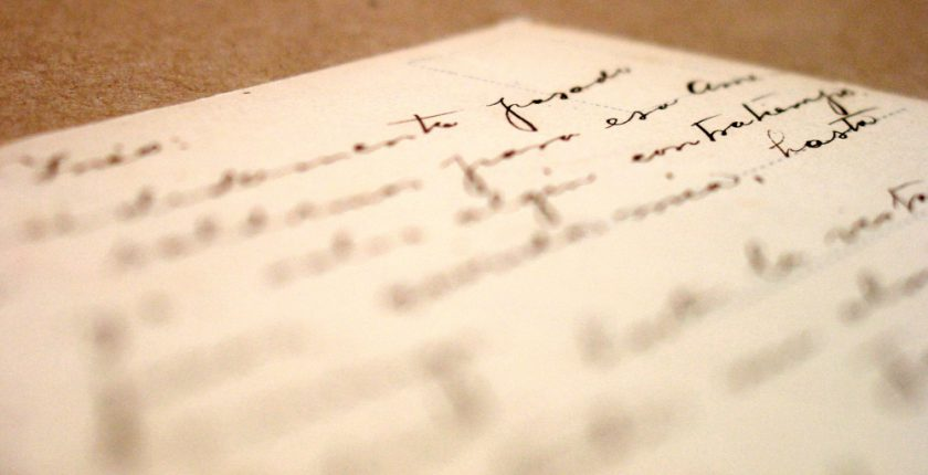 handwriting on book