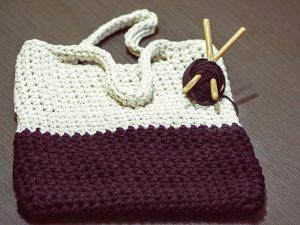 cream and burgundy crochet bag