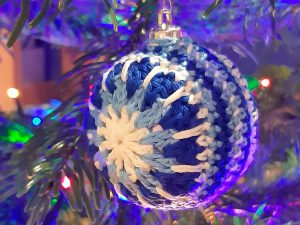 blue and white crochet bauble
