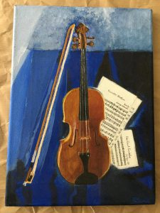 Painting of viola and music with blue background