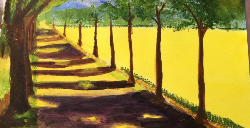 Landscape painting of tree avenue and yellow field