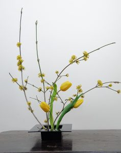 Yellow tulip flower arrangement