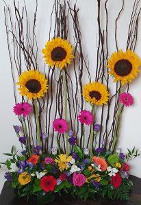 Sunflower and gerbera flower arrangement