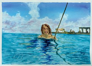 Painting of girl in the sea