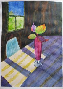 Painting of pink vase on table in a dining room