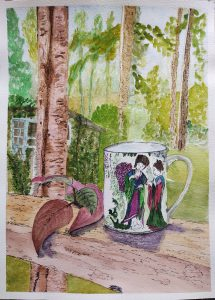 Painting of Japanese women on mug with trees behind