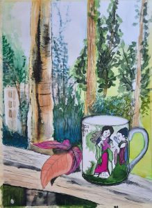Painting of Japanese mug with trees behind