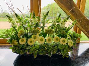 Yellow and green flower arrangement