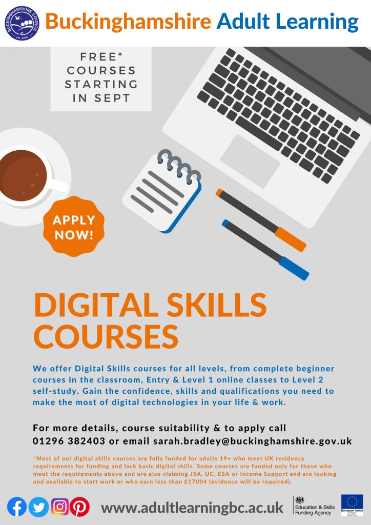 digital skills courses poster 2021