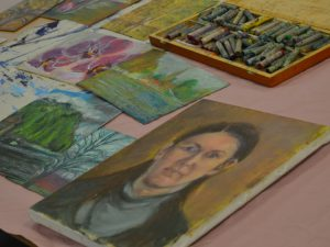 Pictures drawn with oil pastels