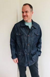 Man in handmade denim jacket