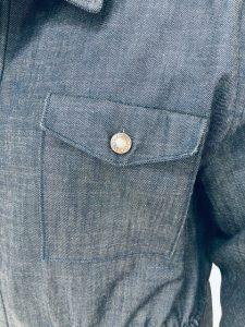 Pocket of handmade denim jacket