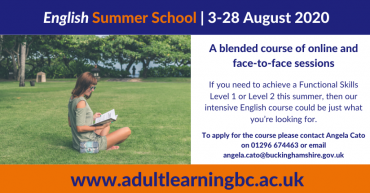 Advert to promote English Summer School 2020