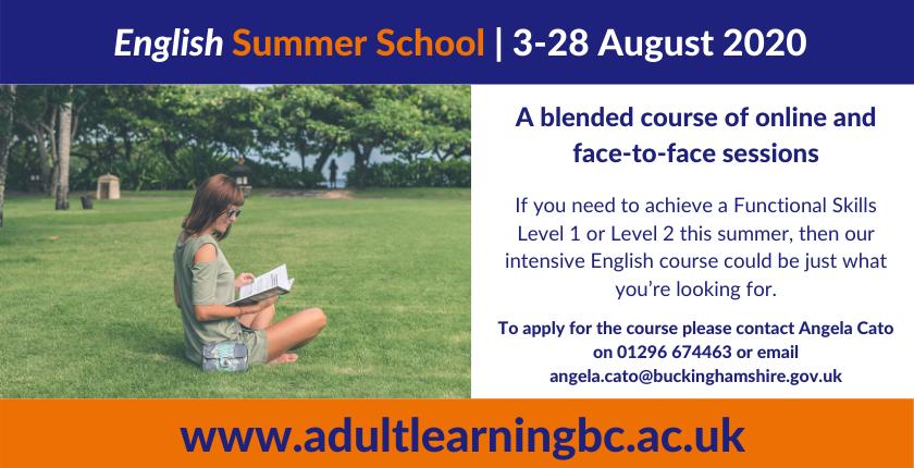 Advert to promote English Summer School 2020