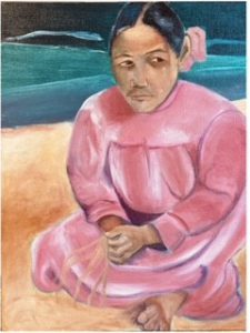 Tahitian woman on beach in pink dress
