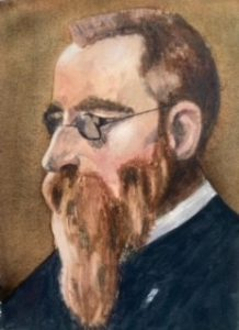 After Valentin Serov. Portrait of Nicolai Rimsky-Korsakov. Watercolour. Background wet in wet to contrast with blocks of colour in the figure.