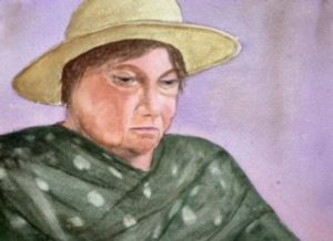 Painting of woman in straw hat with green shawl