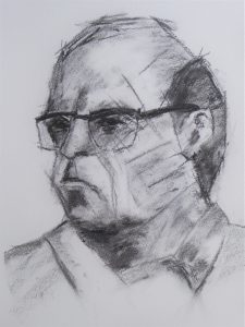 Sketch of a man in charcoal