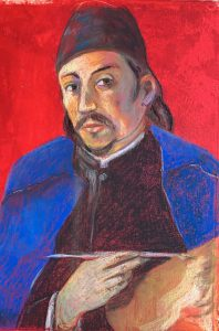 Portrait painting of a man in blue cape