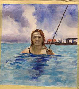 A painting of a girl swimming in the sea