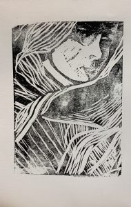 Black and white drawing of a woman