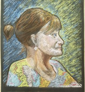 Pastel drawing of a woman