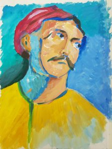 Painting of man in red hat and yellow shirt