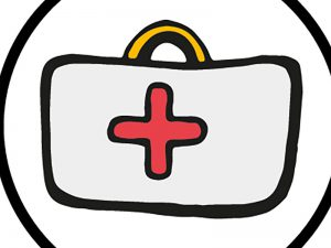 First aid box with red cross
