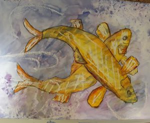 Painting of two yellow fish