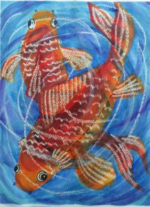 Painting of two goldfish in watercolour