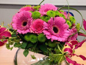 Flower arrangement with pink gerberas