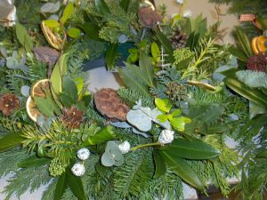 Christmas wreaths with green foliage