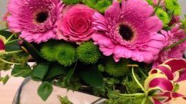Pink gerberas in a flower arrangement