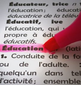 Page of french dictionary with pink highlighter on word Education