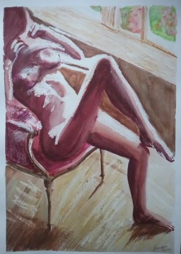 Painting of pink nude seated woman