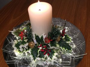 Fused glass Christmas wreath with candle