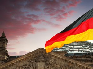 German flag and building