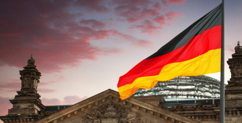 German flag above a building